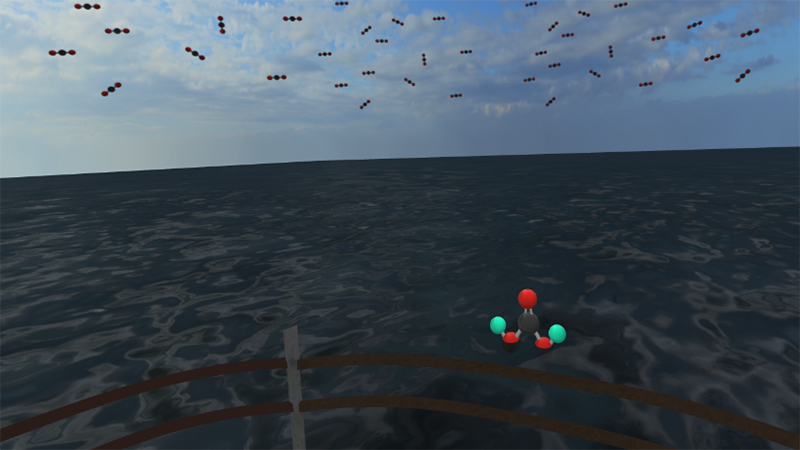 Carbon emissions from a boat in VR